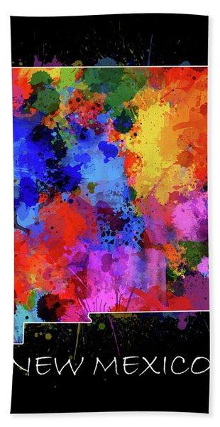 New Mexico Map Color Splatter 2 Bath Towel