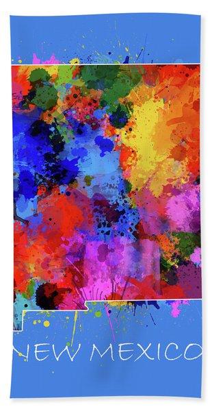 New Mexico Map Color Splatter 3 Bath Towel