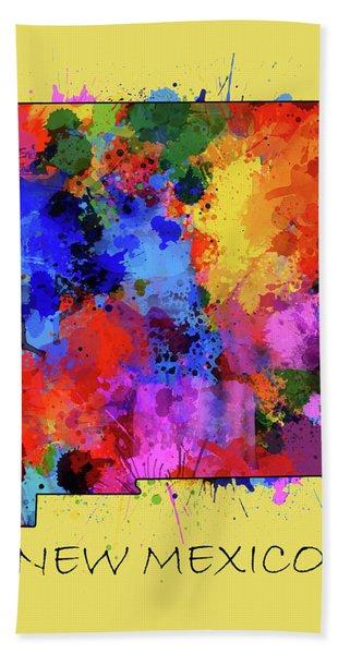 New Mexico Map Color Splatter 4 Bath Towel