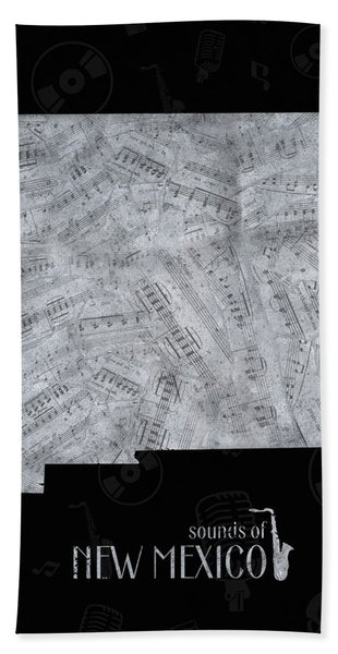 New Mexico Map Music Notes 2 Bath Towel