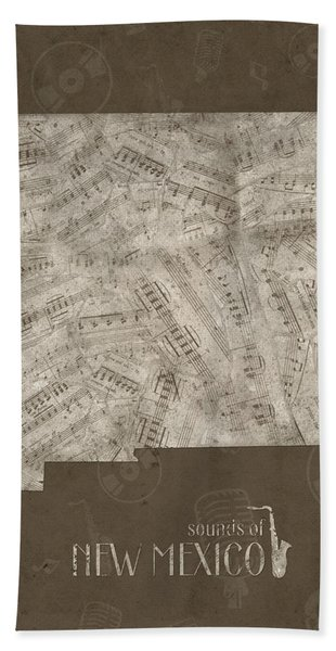 New Mexico Map Music Notes 3 Bath Towel