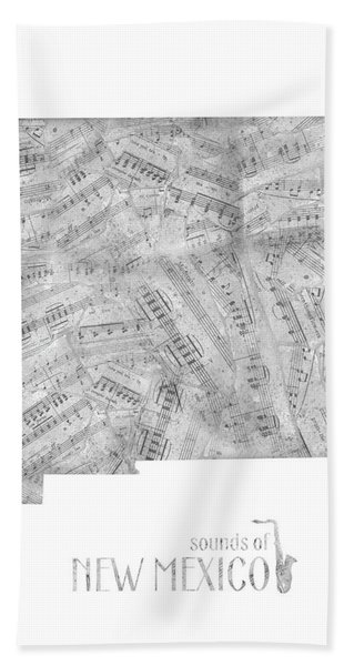 New Mexico Map Music Notes Bath Towel