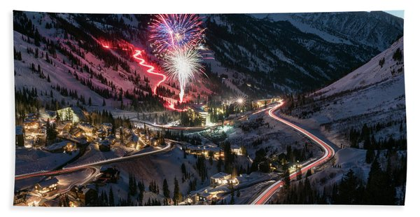 Hand Towel featuring the photograph New Year's Eve At Snowbird by James Udall