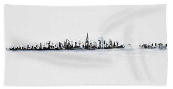 New York City Skyline Black And White Hand Towel
