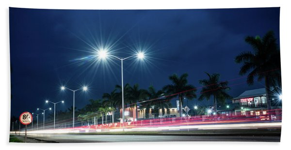 Night Lights In Montego Bay City Hand Towel