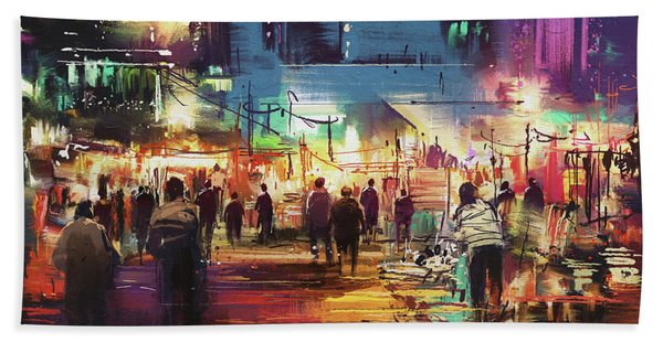 Bath Towel featuring the painting Night Market by Tithi Luadthong