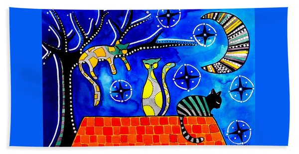Night Shift - Cat Art By Dora Hathazi Mendes Bath Towel