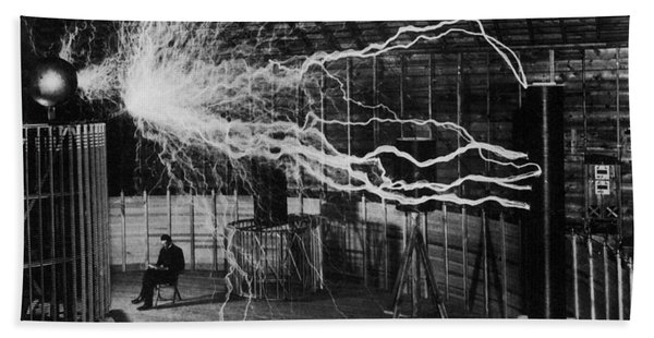 Nikola Tesla - Bolts Of Electricity Bath Towel