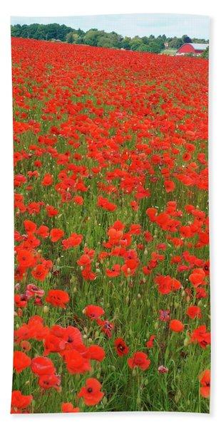 Nottinghamshire Poppies Bath Towel