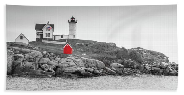 Nubble Lighthouse In Color And Black And White Hand Towel