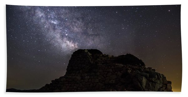 Nuraghe Of Sardinia Under The Stars Hand Towel