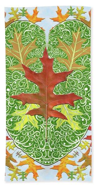 Oak Leaf In A Heart Hand Towel