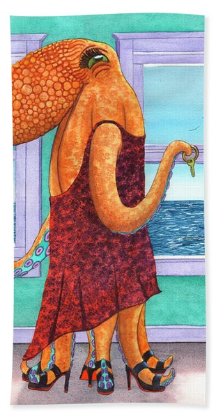 Octopus In A Cocktail Dress Hand Towel
