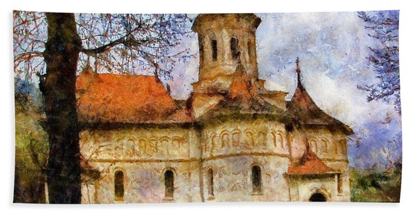 Old Church With Red Roof Bath Towel