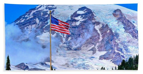 Old Glory At Mt. Rainier Hand Towel