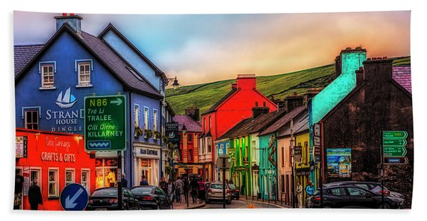 Old Irish Town The Dingle Peninsula At Sunset Bath Towel