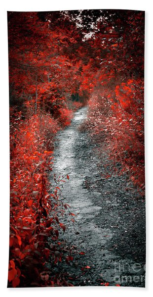 Old Path In Red Forest Hand Towel