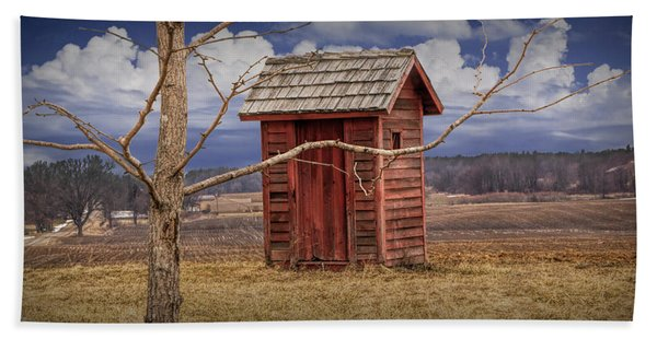 Old Rustic Wooden Outhouse In West Michigan Hand Towel