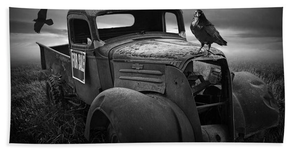 Old Vintage Chevy Pickup Truck With Ravens Hand Towel