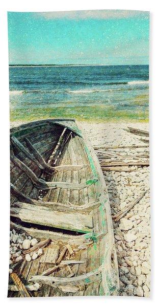 Old Wooden Boat On The Seashore, Retro Image Bath Towel