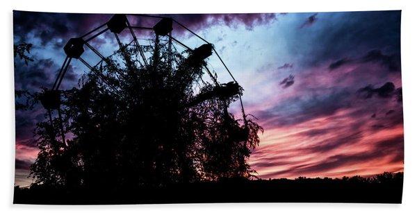 Ominous Abandoned Ferris Wheel Hand Towel