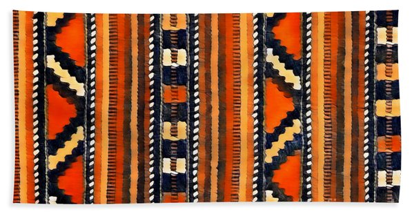 Orange Abstact Pattern Lines And Stripes Hand Towel