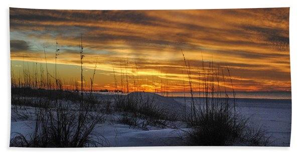 Orange Clouded Sunrise Over The Pier Bath Towel