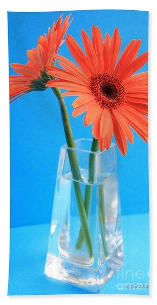Orange Gerberas In A Vase - Aqua Background Hand Towel