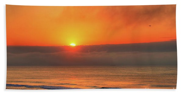 Orange Sunrise On Long Beach Island Bath Towel