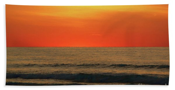 Orange Sunset On The Jersey Shore Bath Towel