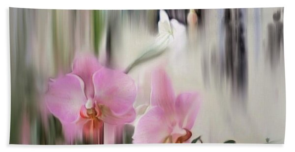 Orchids With Dragonflies Hand Towel