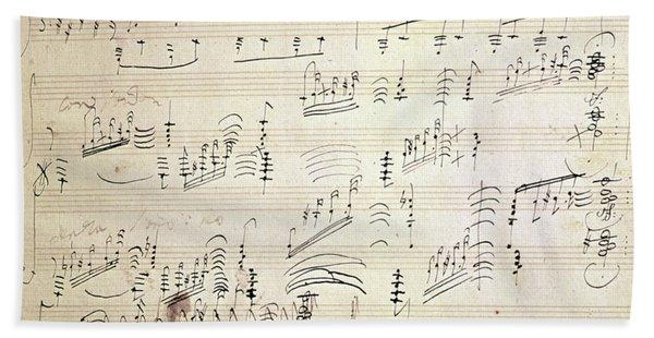 Original Score Of Beethoven's Moonlight Sonata Hand Towel