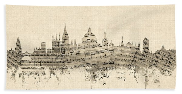 Oxford England Skyline Sheet Music Bath Towel