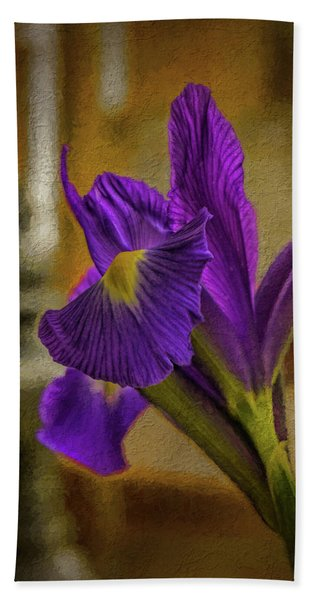 Painted Iris Bath Towel