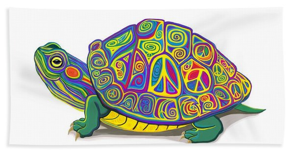 Painted Peace Turtle Hand Towel