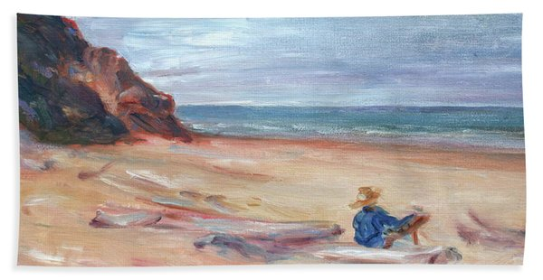Painting The Coast - Scenic Landscape With Figure Bath Towel