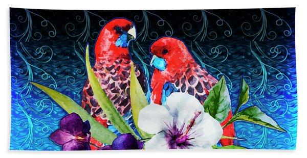 Paired Parrots Bath Towel