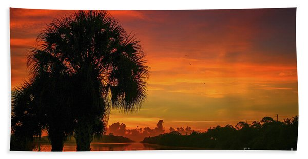 Bath Towel featuring the photograph Palm Silhouette Sunrise by Tom Claud