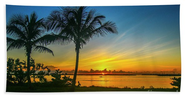 Bath Towel featuring the photograph Palm Tree And Boat Sunrise by Tom Claud