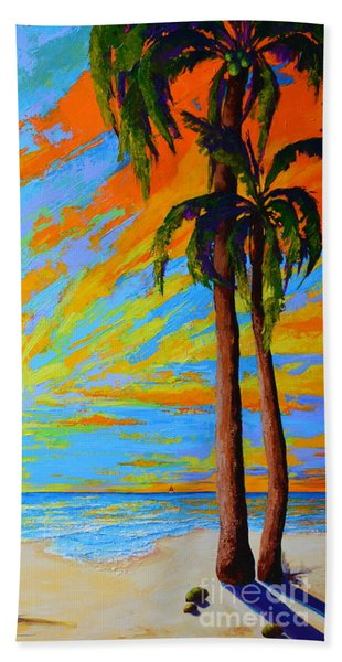 Florida Palm Trees, Tropical Beach, Colorful Sunset Painting Bath Towel