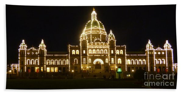 Parliament Building At Night - Victoria British Columbia Hand Towel