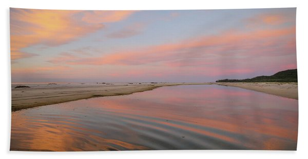 Pastel Skies And Beach Lagoon Reflections Hand Towel