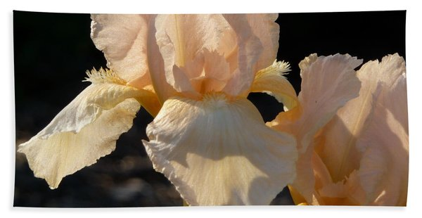 Hand Towel featuring the photograph Peach Bearded Iris by Ruth Kamenev
