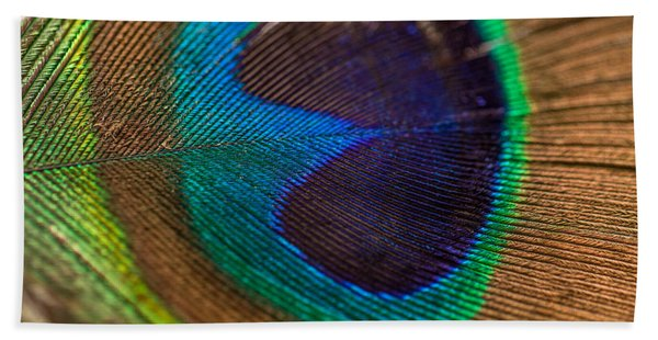 Peacock Feather Macro Detail Hand Towel
