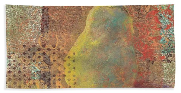 Hand Towel featuring the painting Pear by Ruth Kamenev