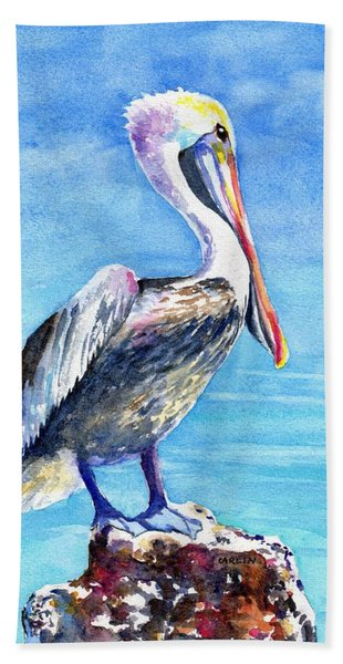 Pelican On A Post  Hand Towel
