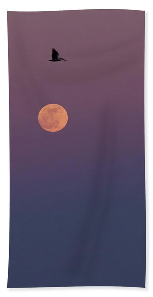 Pelican Over The Moon Hand Towel