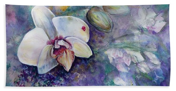 Phalaenopsis Orchid With Hyacinth Background Hand Towel