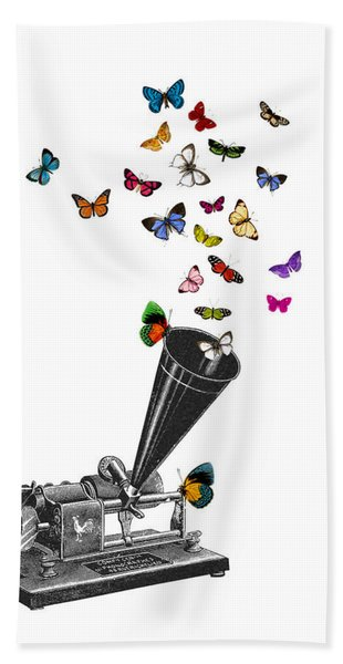 Phonograph And Butterflies Print Hand Towel