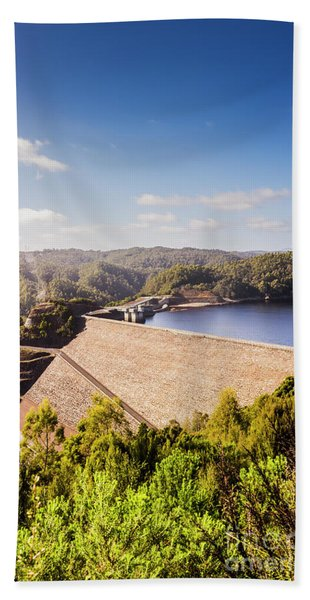 Picturesque Hydroelectric Dam Hand Towel